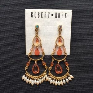 Chandelier earrings with orange/coral stones